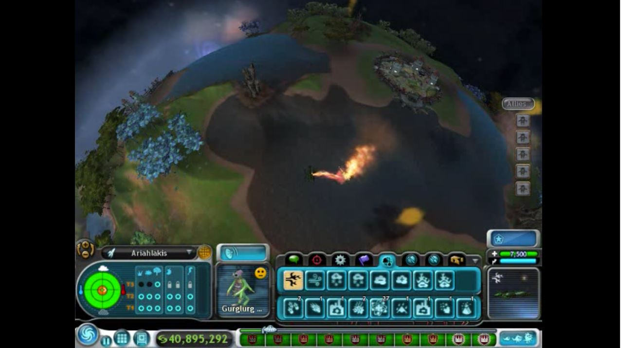 In the mainstream game Spore players can observe the impacts of climate change by using the terraforming mechanics.