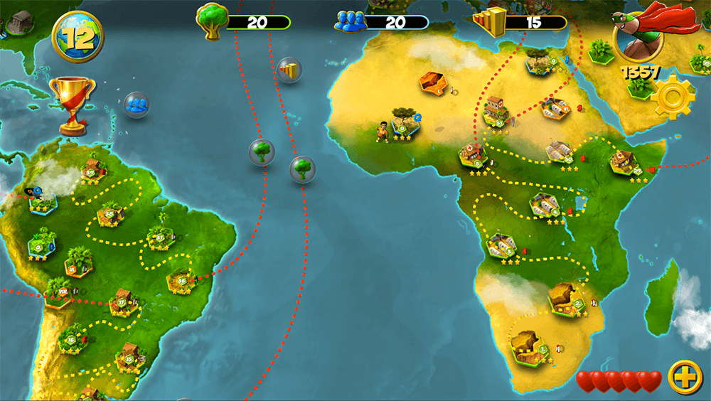 Through fast-paced gameplay set in Kenya, Norway, Brazil, India, and China, players meet five young heroes and help them solve global problems—such as displacement, disease, deforestation, drought, and pollution—at the community level.